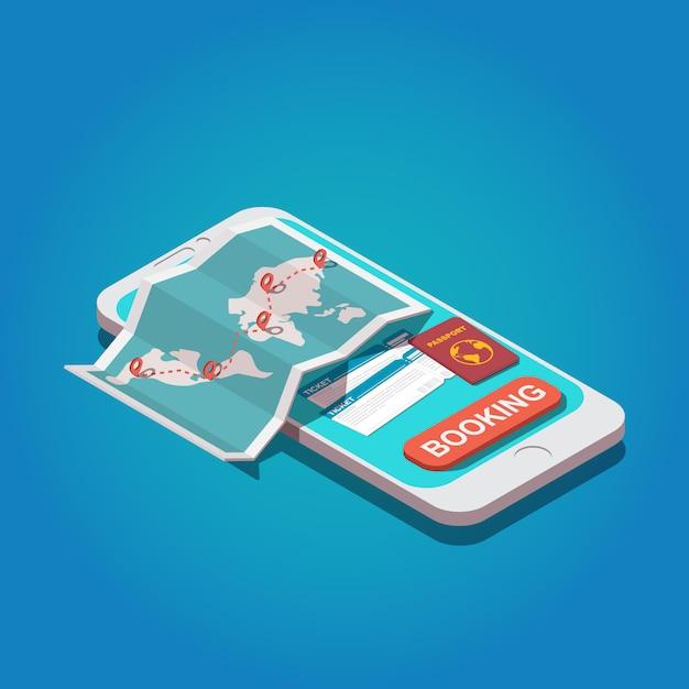 オンライン予約のコンセプト。世界地図、パスポート、航空券を備えたスマートフォン Premiumベクター