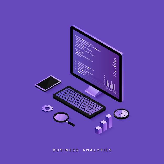 Современный плоский дизайн изометрической концепции бизнес-анализа для веб-сайта и мобильного сайта Premium векторы