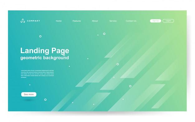 幾何学的形状の背景を持つウェブサイトテンプレート Premiumベクター