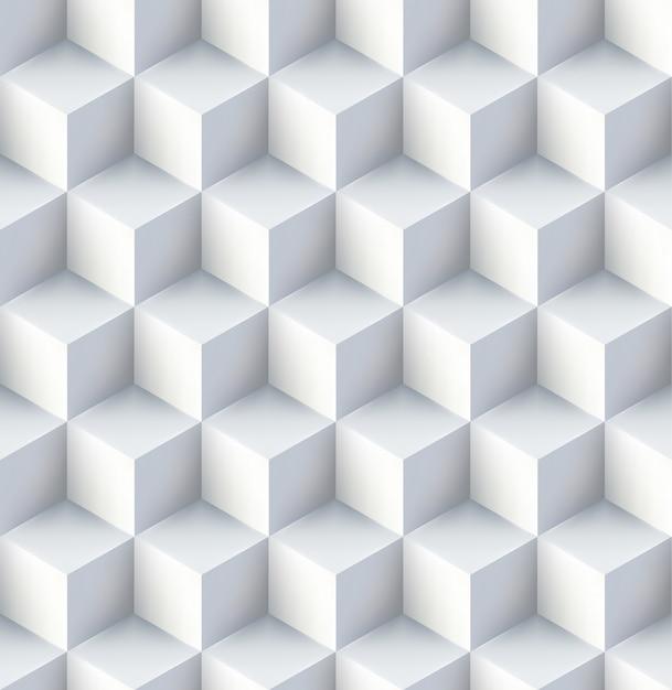 Белые кубы бесшовный шаблон дизайн Бесплатные векторы