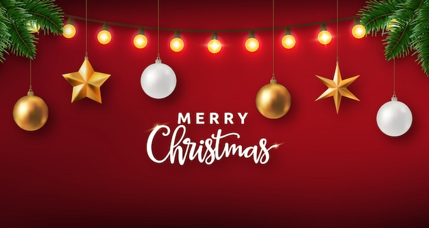 Реалистичный рождественский дизайн с огнями и украшениями Premium векторы