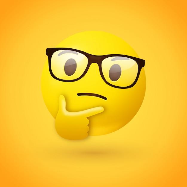 Умное или всезнайка мыслящее лицо смайликов Premium векторы