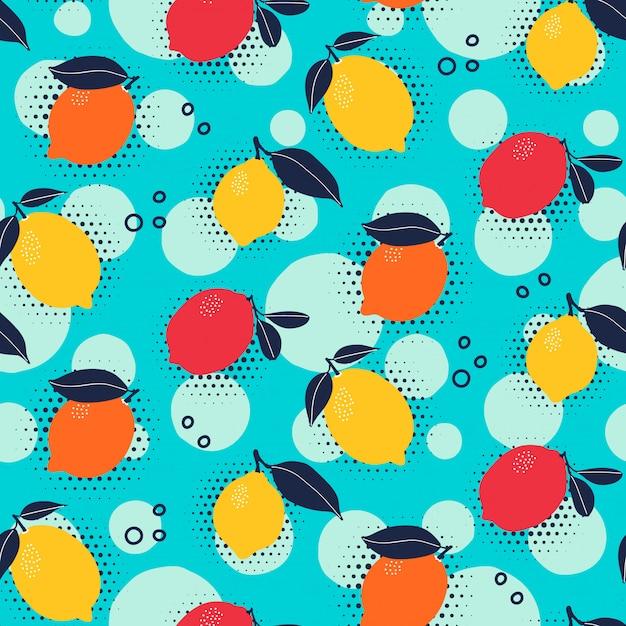 ポップアートスタイルの柑橘類のシームレスパターン Premiumベクター