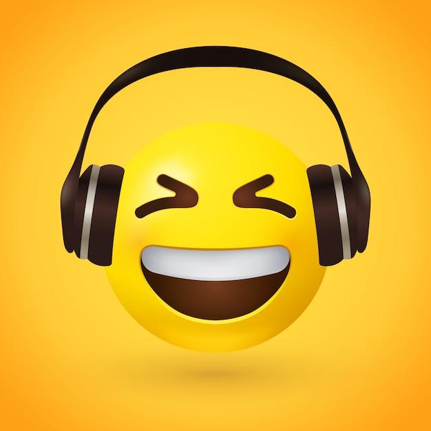 ヘッドフォンで幸せな絵文字 Premiumベクター