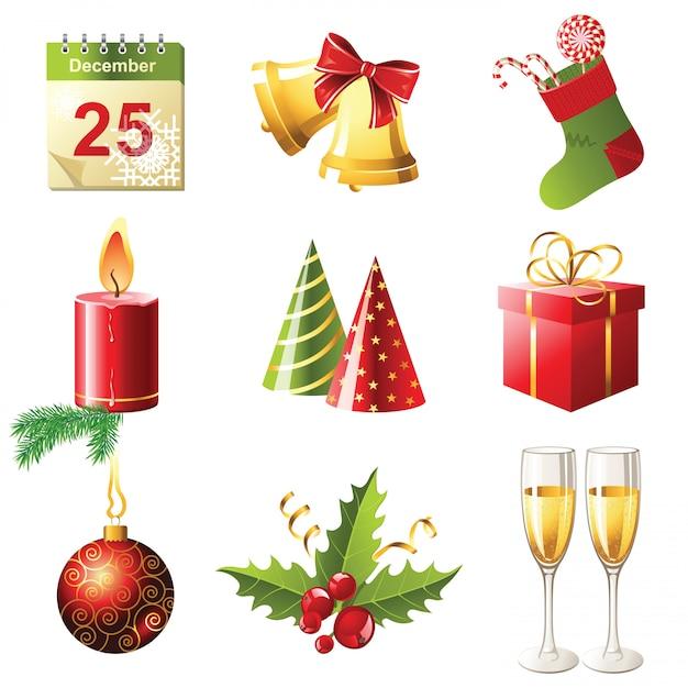 Рождественские иконки Premium векторы