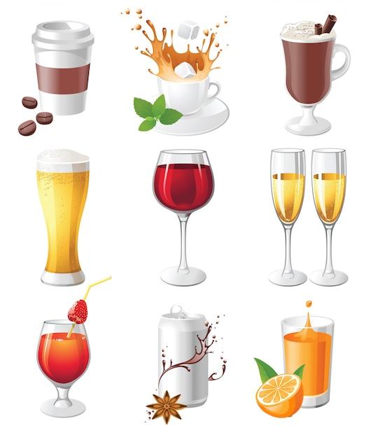 Напитки иконы Premium векторы