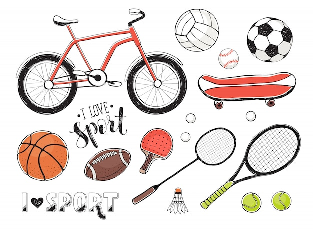 スポーツ機器の要素のコレクション Premiumベクター