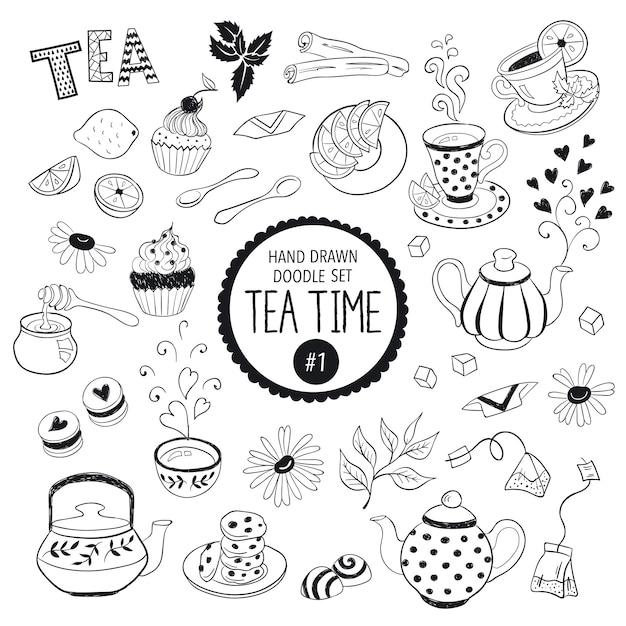 Коллекция элементов времени чая Premium векторы