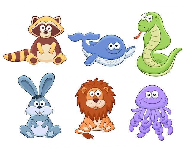 Сборник мультфильмов животных Premium векторы