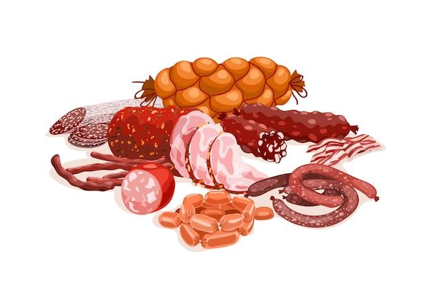 肉製品の組成 Premiumベクター