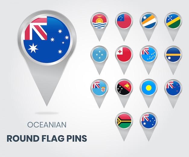 Океания, круглые флажки, указатели карты Premium векторы