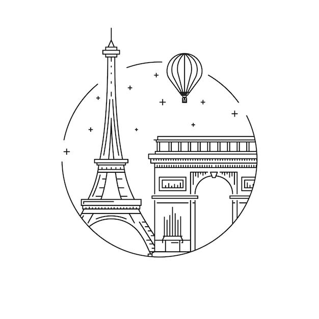 パリのシンボル Premiumベクター