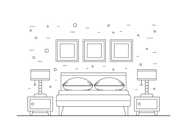 寝室のインテリア Premiumベクター