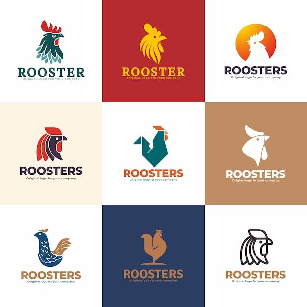 オンドリのロゴデザインテンプレート。創造的なユニークなロゴデザインコレクション。 Premiumベクター