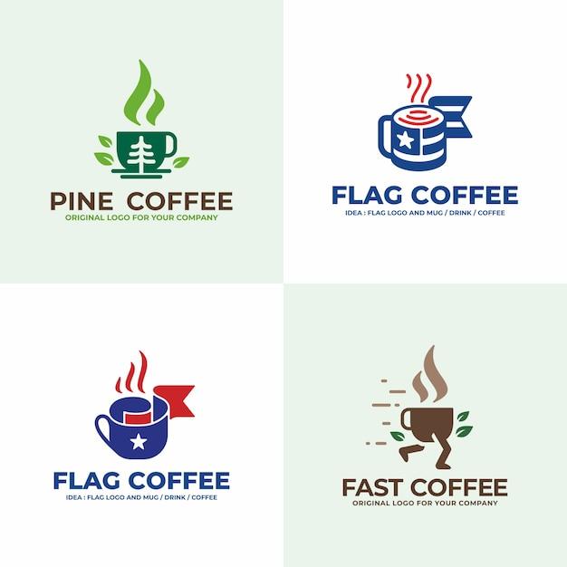 Напиток, сосна, флаг, фаст-фуд дизайн логотипа коллекции. Premium векторы