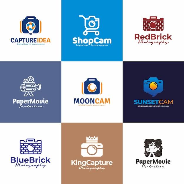 Камера, фотография дизайн логотипа. творческий уникальный дизайн логотипа коллекции. Premium векторы
