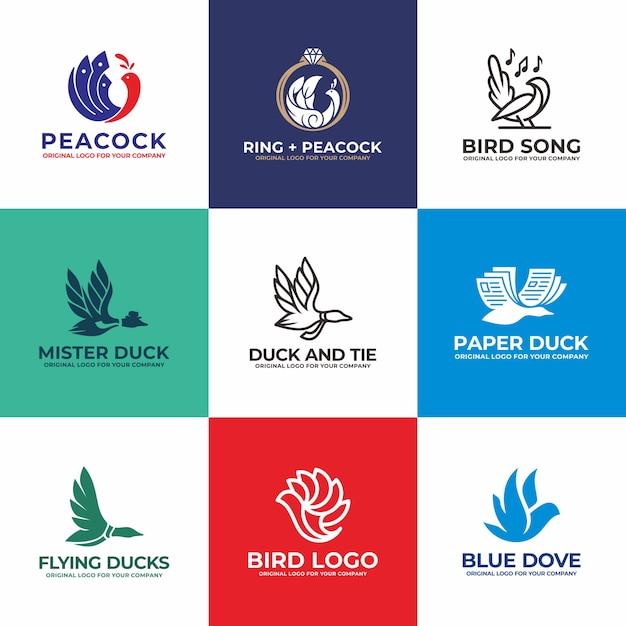 鳥、白鳥、アヒル、鳩、孔雀のロゴデザインコレクション。 Premiumベクター