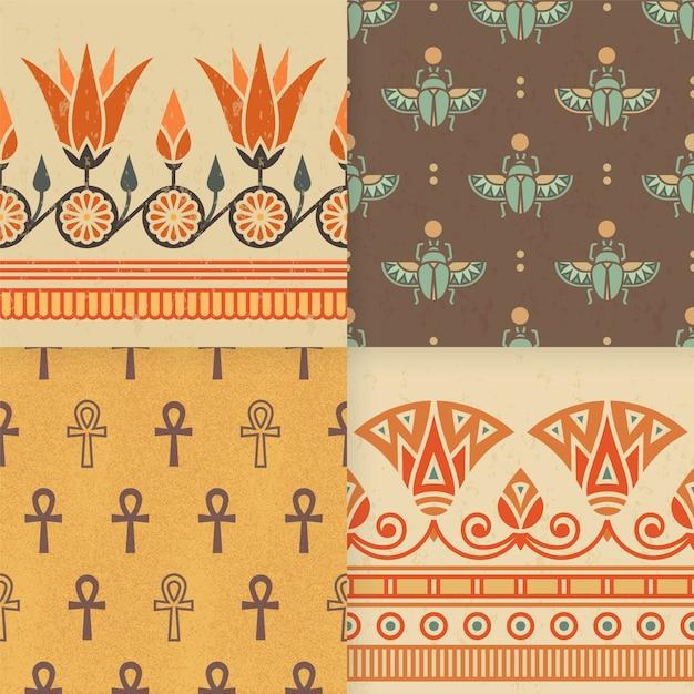 エジプトの飾りのシームレスパターンのセット。 Premiumベクター
