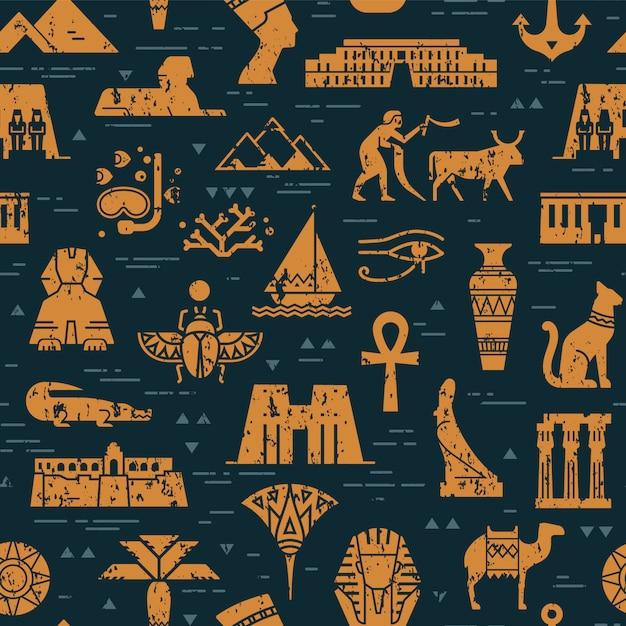 シンボル、ランドマーク、エジプトの兆候の暗いシームレスパターン Premiumベクター