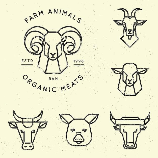 直線的なスタイルの農場の動物のロゴのコレクション Premiumベクター
