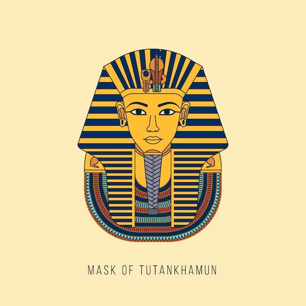 エジプトの黄金のファラオのマスク Premiumベクター
