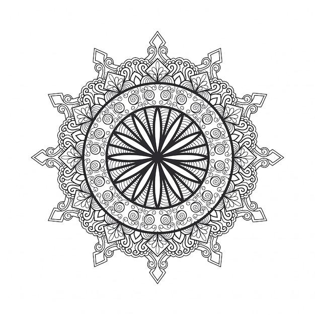 塗り絵のアウトラインマンダラ。装飾的な丸い飾り。抗ストレス療法のパターン。デザイン要素を織ります。ヨガのロゴ、瞑想ポスターの背景。珍しい花形オリエンタルラインベクトル。 Premiumベクター