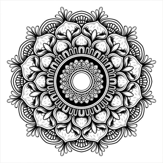 マンダラパターンで咲く花のイラスト Premiumベクター