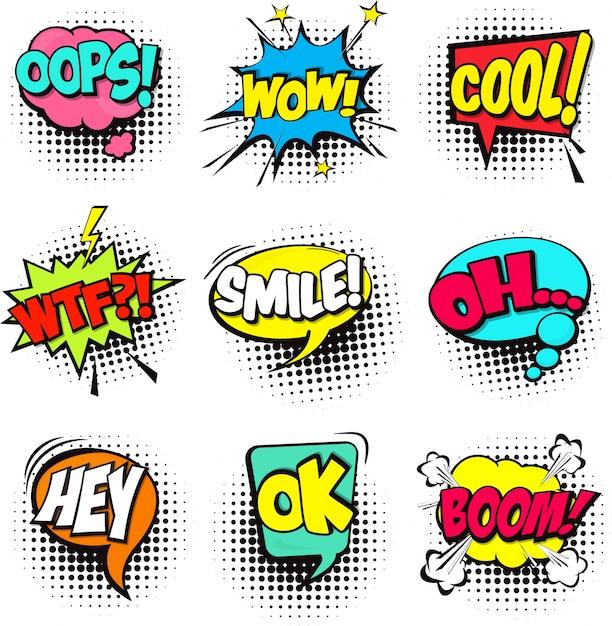 Набор мультфильм комические пузыри речи диалог облака со словом и звуком иллюстрации Бесплатные векторы