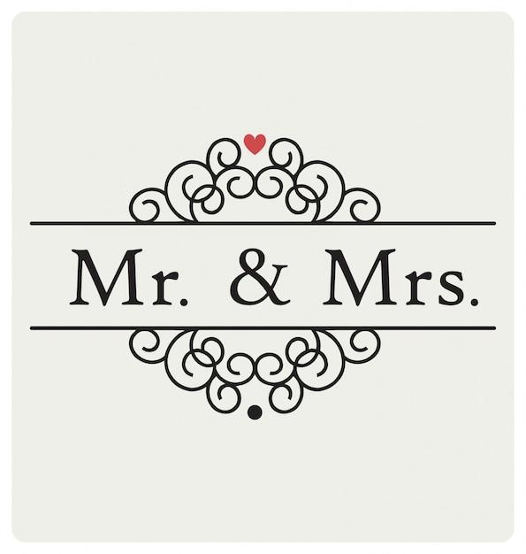 Г-н и г-жа свадебный знак типографского векторного дизайна Бесплатные векторы
