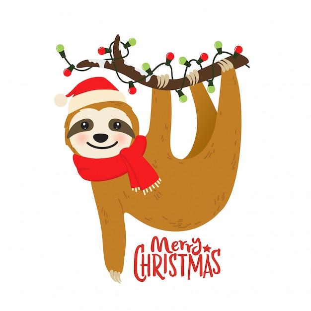 Симпатичный мультфильм ленивый графический для рождественского праздника Premium векторы