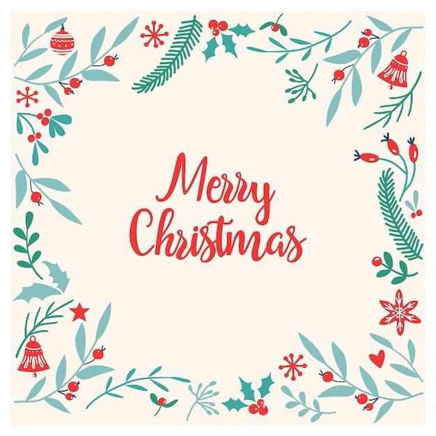 手描きの花柄のクリスマスカードフレーム Premiumベクター