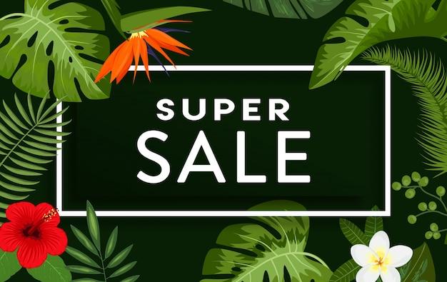熱帯の葉と花を持つスーパーセールの背景デザイン 無料ベクター