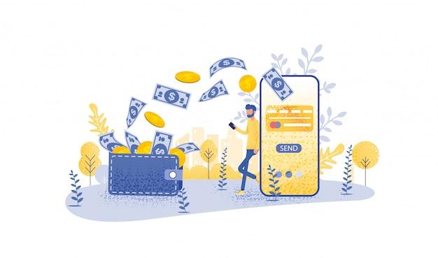 Концепция онлайн-перевода с рукой придерживая смартфон Premium векторы