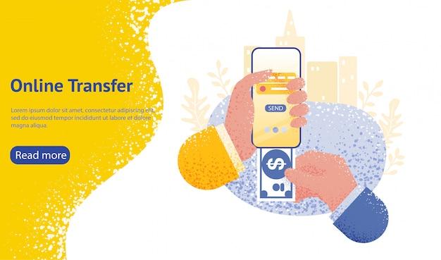 Целевая страница или веб-шаблон для концепции онлайн-перевода с рукой, держащей смартфон и нажмите кнопку отправки Premium векторы