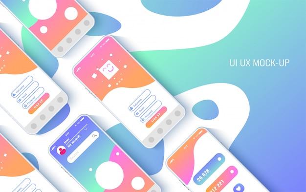 Концептуальные мобильные телефоны для пользовательского интерфейса, Premium векторы
