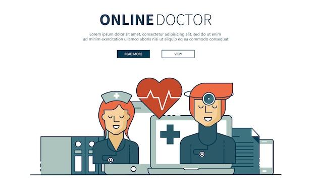 На линии лечения и на линии врача Premium векторы