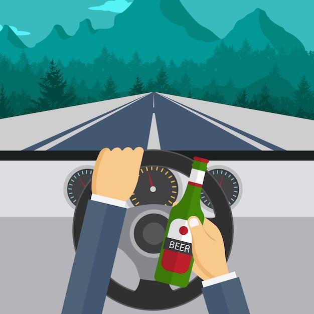 ビールを飲みながら車を運転する男 Premiumベクター
