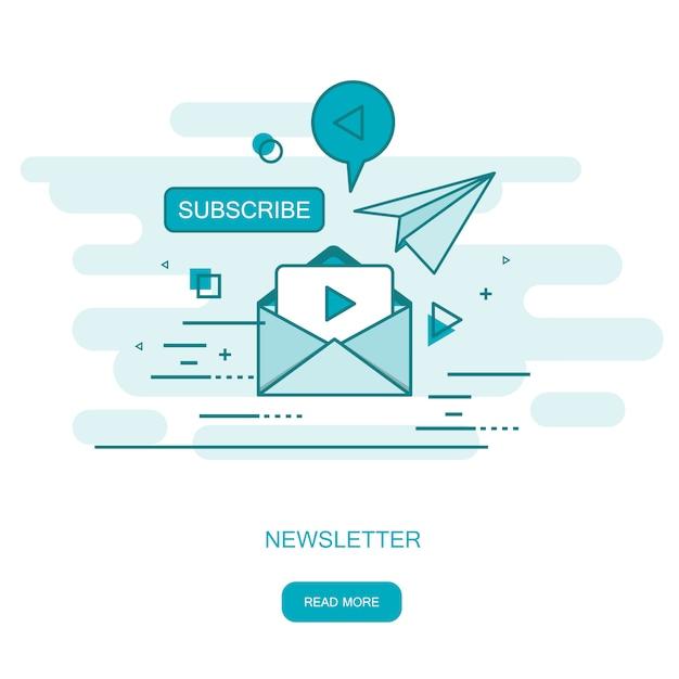 Регулярно распространяемая публикация новостей по электронной почте Premium векторы