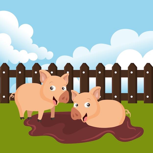 農場の豚 Premiumベクター