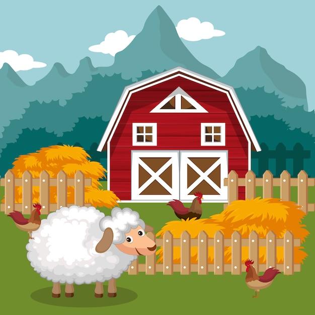 農業と干し草の俵 Premiumベクター
