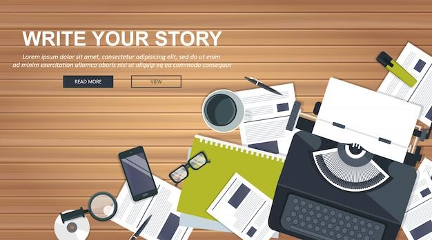 ジャーナリズムとブログのストーリーバナーを書く Premiumベクター