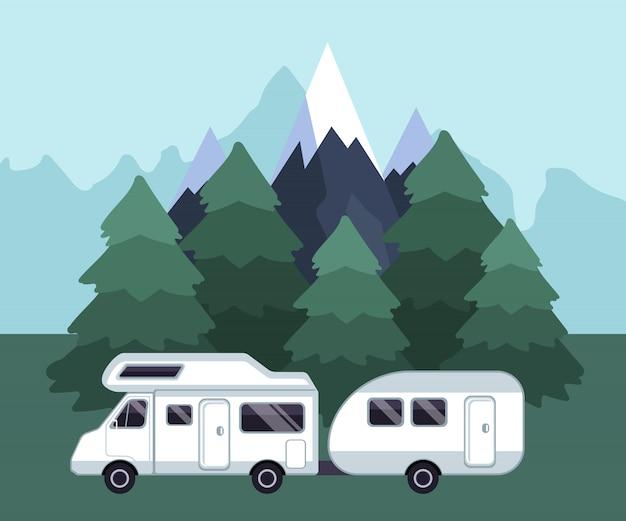 Кемпинг путешествия пейзаж Premium векторы