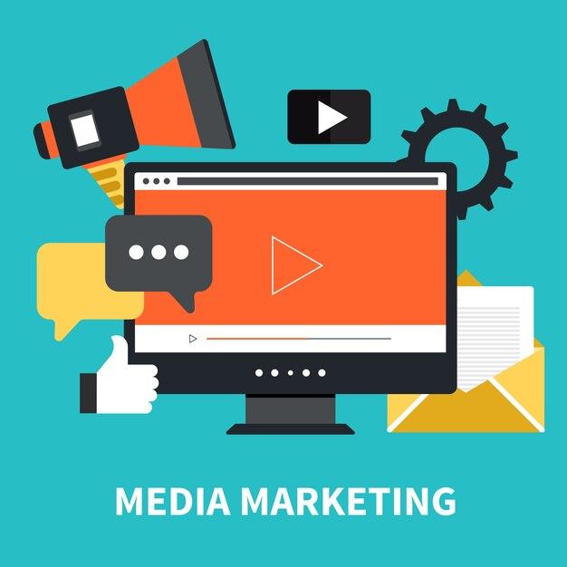 メディアマーケティングとニュースレターの概念 Premiumベクター