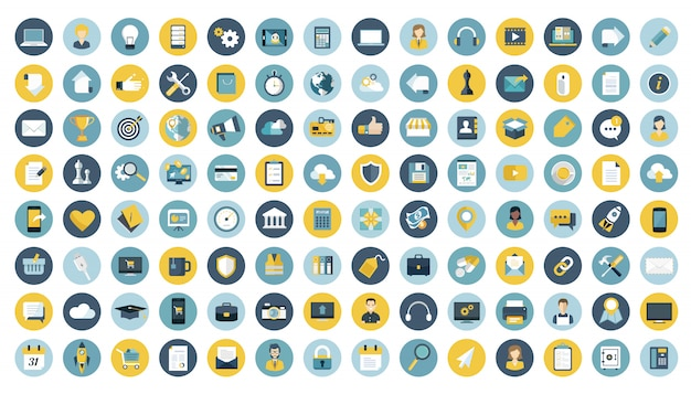 Бизнес, управление, финансы и технологии набор иконок Premium векторы