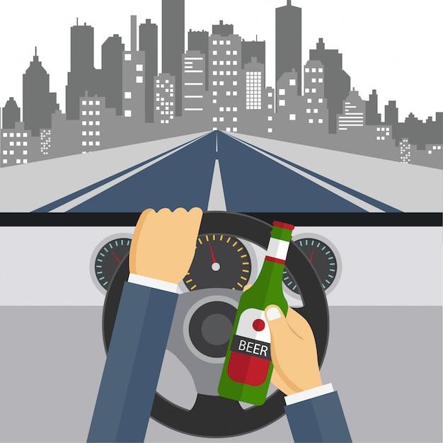 ビールを飲んで車を運転している男 Premiumベクター