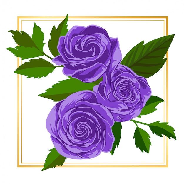 紫のバラの花の花ヴィンテージリーフ自然 Premiumベクター