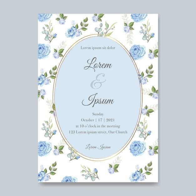 美しい花と葉のテンプレートとエレガントなウェディングカード Premiumベクター