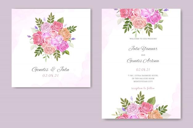 花柄の結婚式の招待状 Premiumベクター