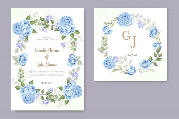 青いバラの結婚式の招待状 Premiumベクター