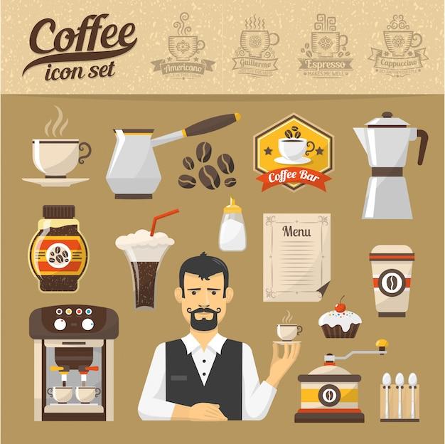 コーヒーショップのアイコンは、フラットスタイルに設定します。コーヒーの種類。 Premiumベクター